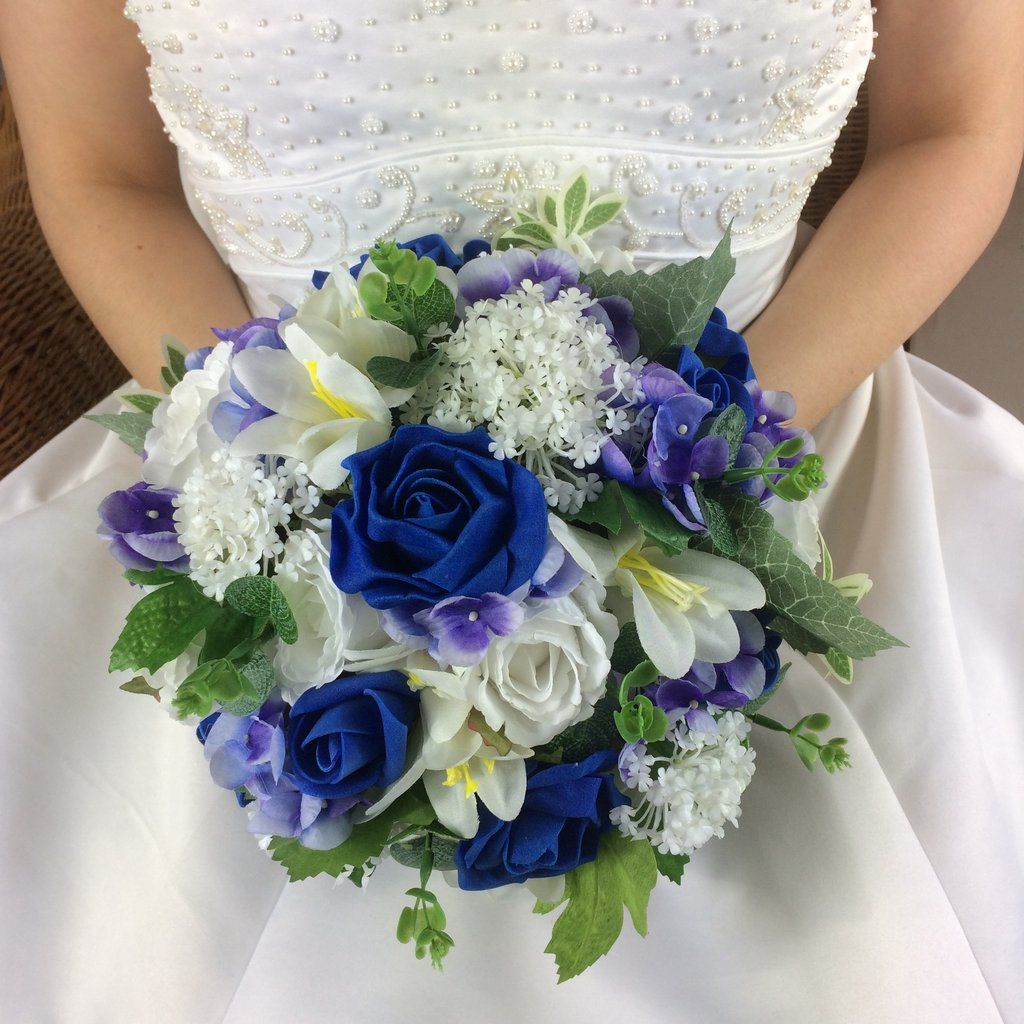 Wedding Bouquet Of Artificial Silk Royal Blue And White Flowers Bridal Bouquet Blue Blue Wedding Flowers Wedding Bouquets