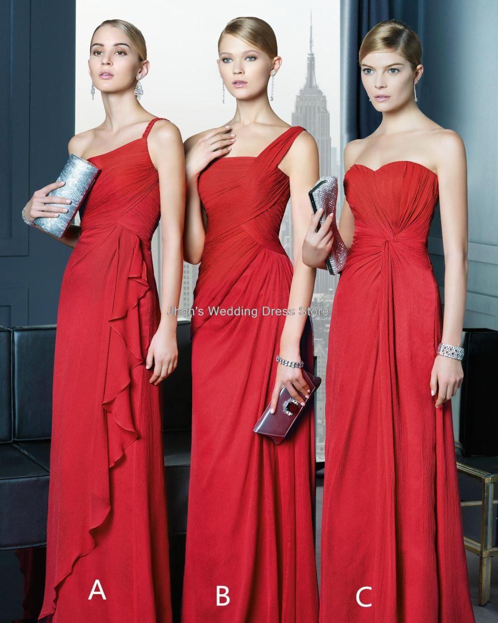 Red three style one-shoulder A-Line vestido de festa longo sequins sleeveless party dresses long Bridesmaid Dresses 2014 FIU-067 $119.99