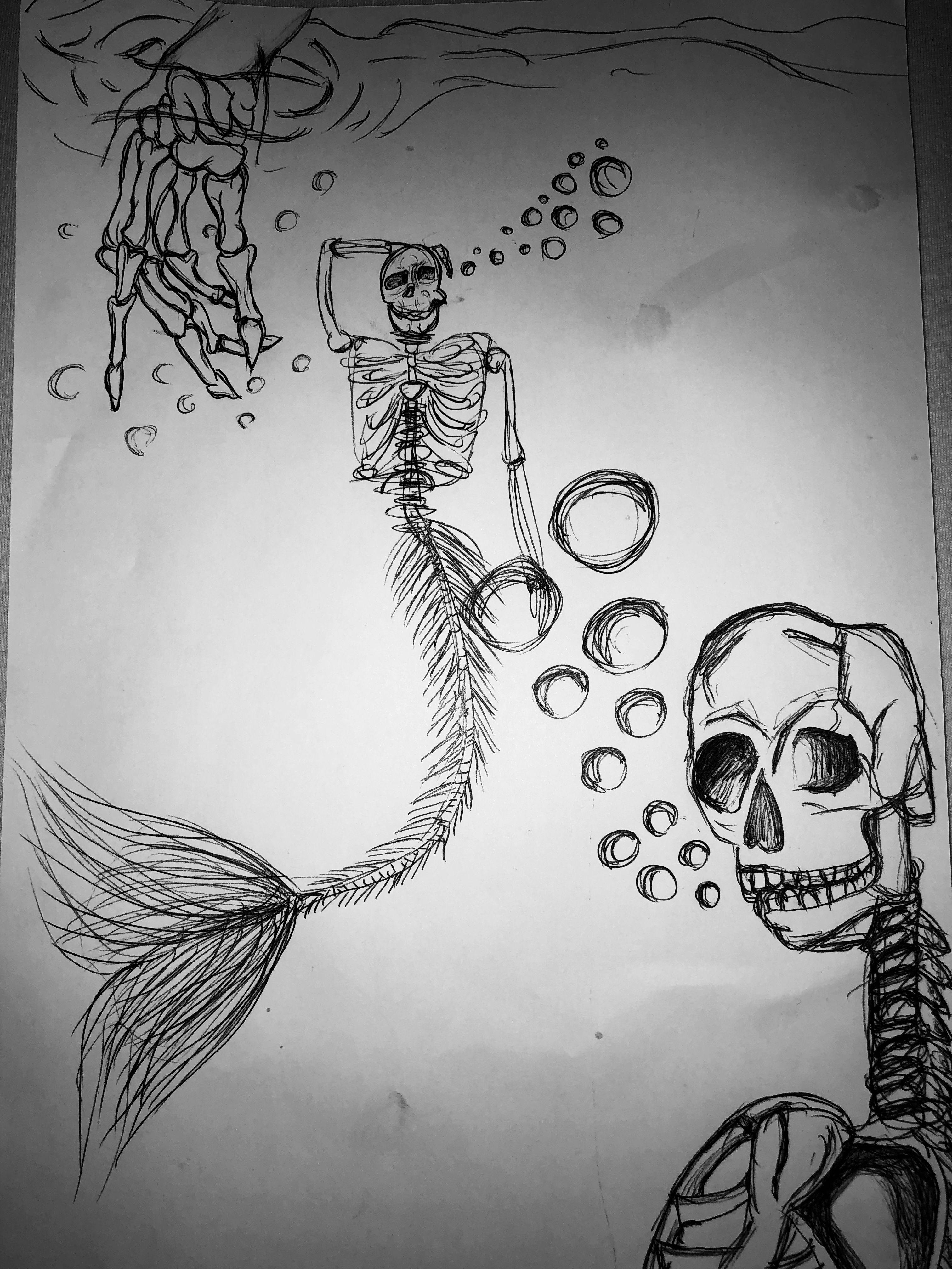 zeichnung unterwasser skelett  zeichnung unterwasser