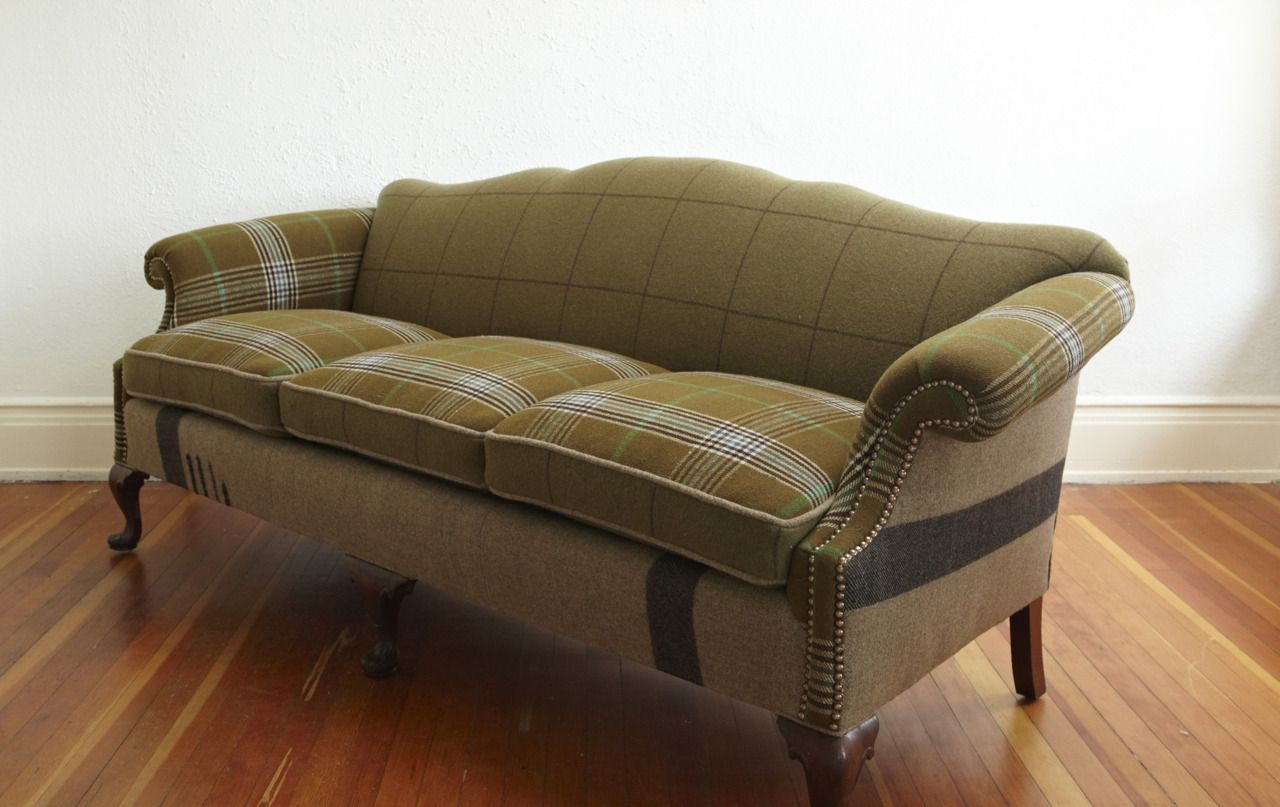 Inspiration overboard...this sofa is upholstered in old plaid ...