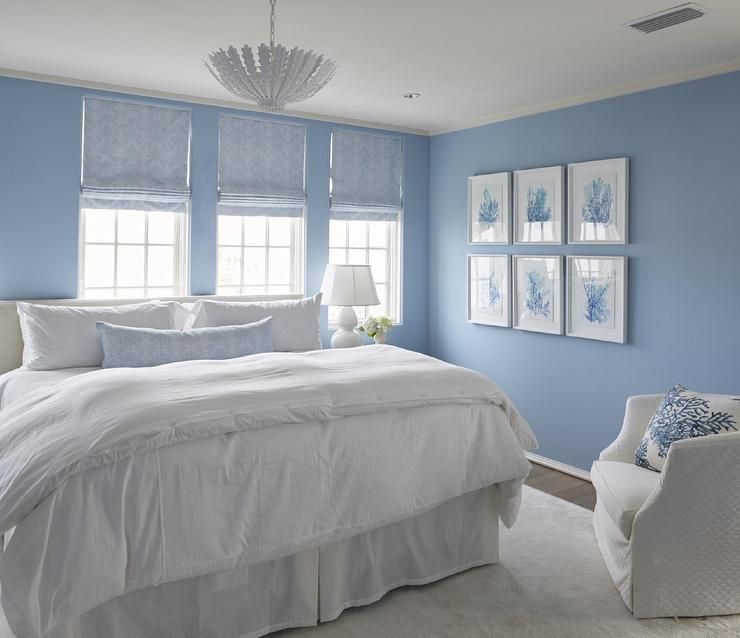 White And Blue Cottage Bedroom Boasts Walls Painted Cornflower