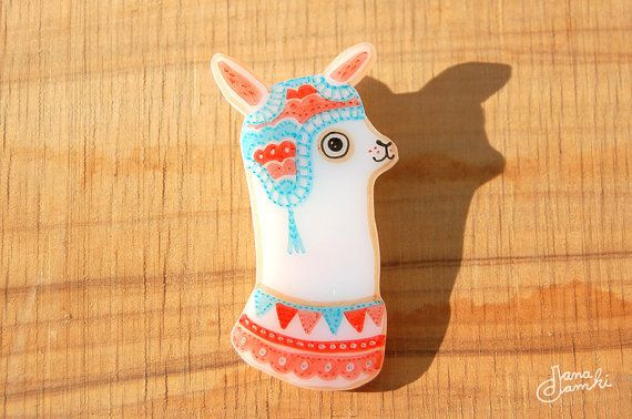 OLIVER the Llama  shrink plastic brooch by danadamki on Etsy, €16.00