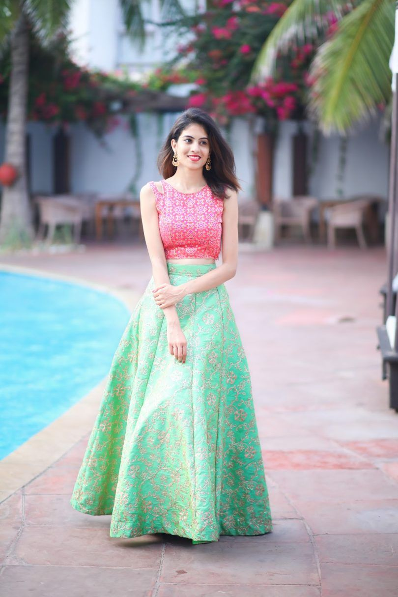 Stunning Party Look in Lehenga with Crop Top Designers