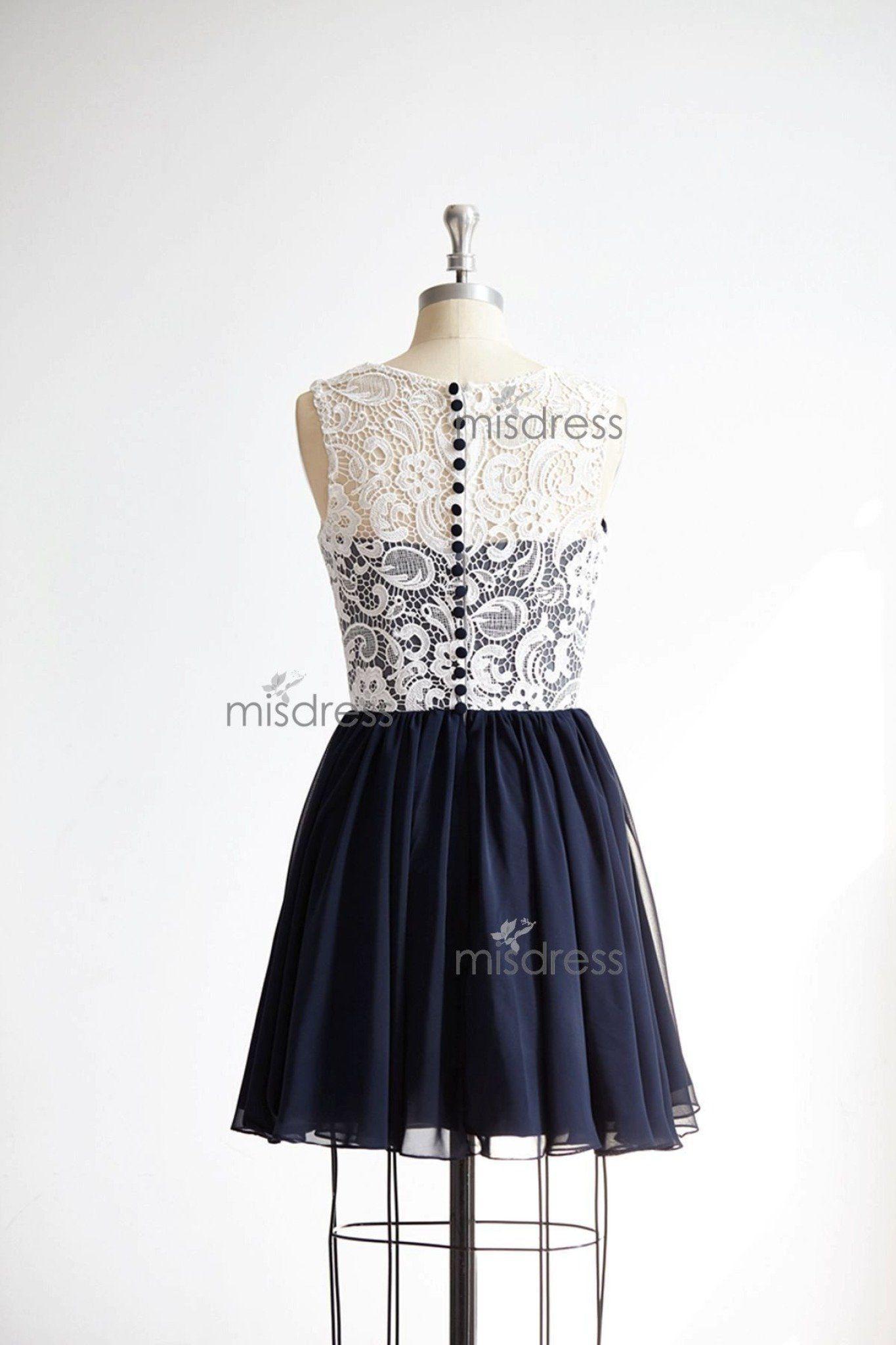 Vintage ivory lace navy blue chiffon short length wedding bridesmaid