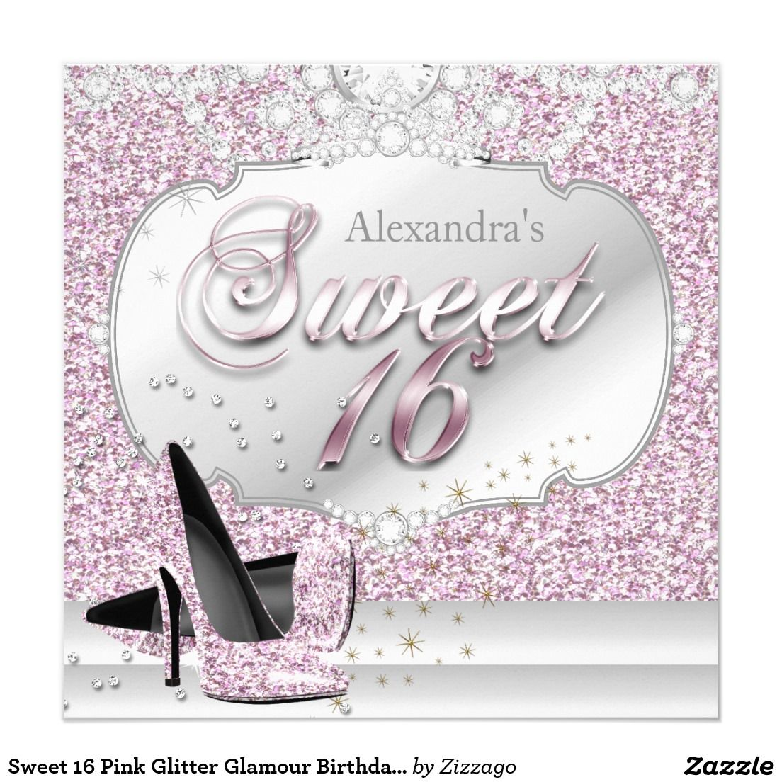 Sweet 16 Pink Glitter Glamour Birthday Party 5.25x5.25 Square Paper Invitation Card