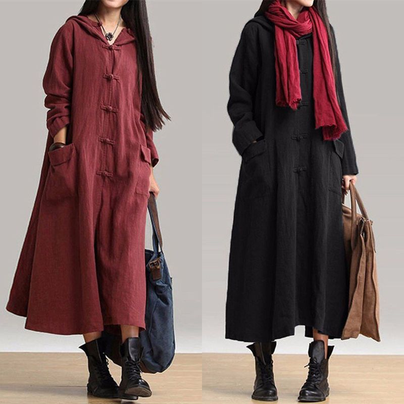 97a2afae69b Retro Women s Robe Cape Loose Hooded Cotton Linen Chinese Casual Maxi Long  Dress