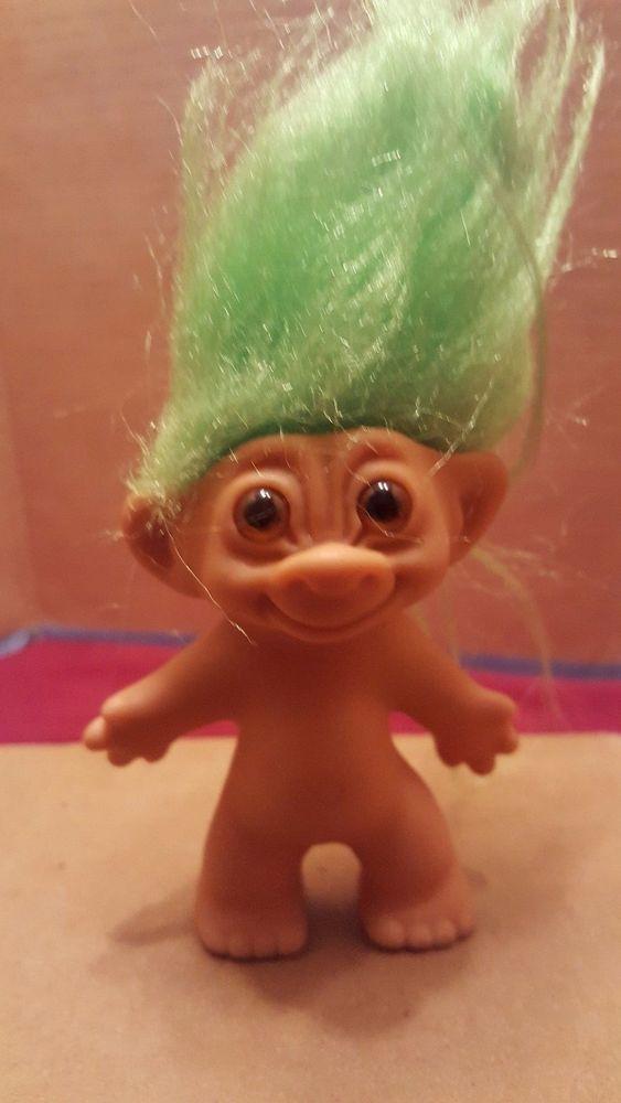 Vintage Uneeda 3 Troll Doll Double Wishbone On Both Feet Green Hair Amber Eyes Dolls