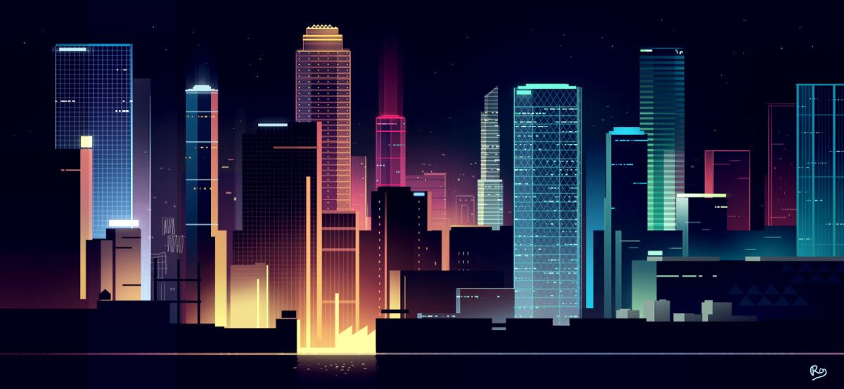 These Incredible Urban Skyline Illustrations Look Like Something Out Of A Futuristic Video Game Cityscape Drawing Futuristic City City Illustration