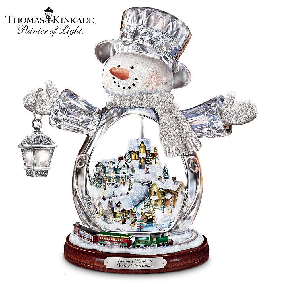 Thomas the train christmas ornament - Thomas Kinkade Crystal Snowman Figurine Featuring Light Up Village And Animated Train