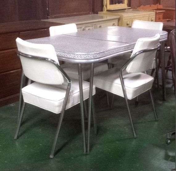 reserved vintage formica dining table with four white chrome chairs mid century modern dinette gray reserved vintage formica dining table with four white chrome      rh   pinterest co uk