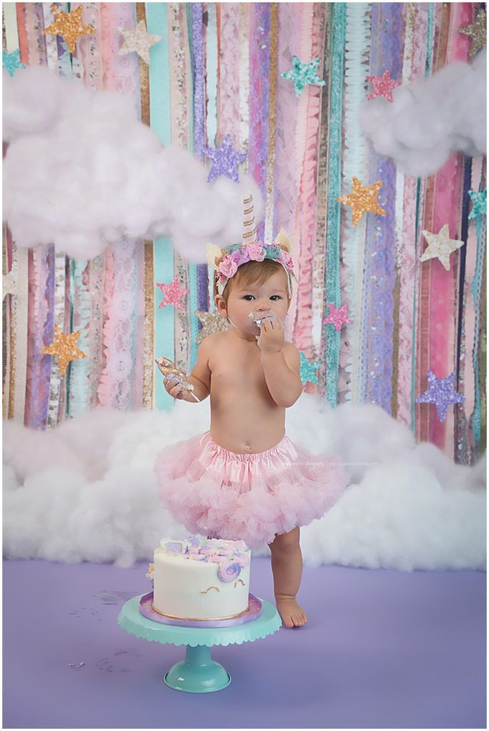 Everly Quinn S Magical Unicorn Themed Cake Smash Photoshoot Diary Of A Fit Mommy Baby Girl 1st Birthday Girl First Birthday Birthday Backdrop