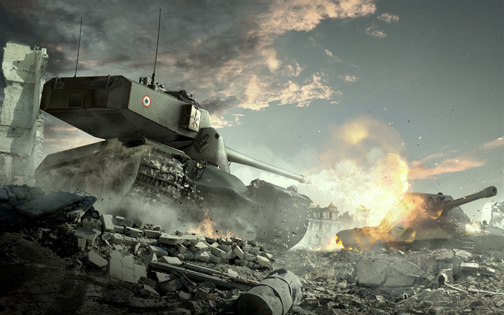 Download wallpapers World of Tanks, E 100, AMX 50 B