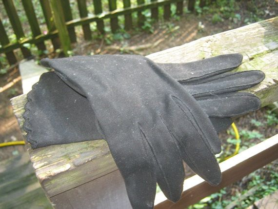 """Black Cotton """"Wear Right"""" Wrist Length Dress Gloves, Size 7 1/2, Made In Western…"""