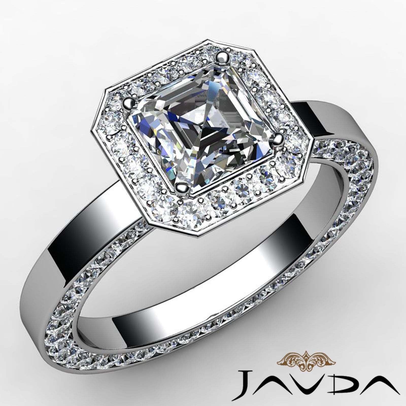 Womenus eternity asscher diamond pave engagement ring gia h vs