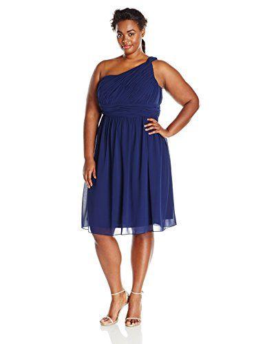 26398fb1925 Donna Morgan Womens Plus-Size One Shoulder Rhea Dress Midnight 20W