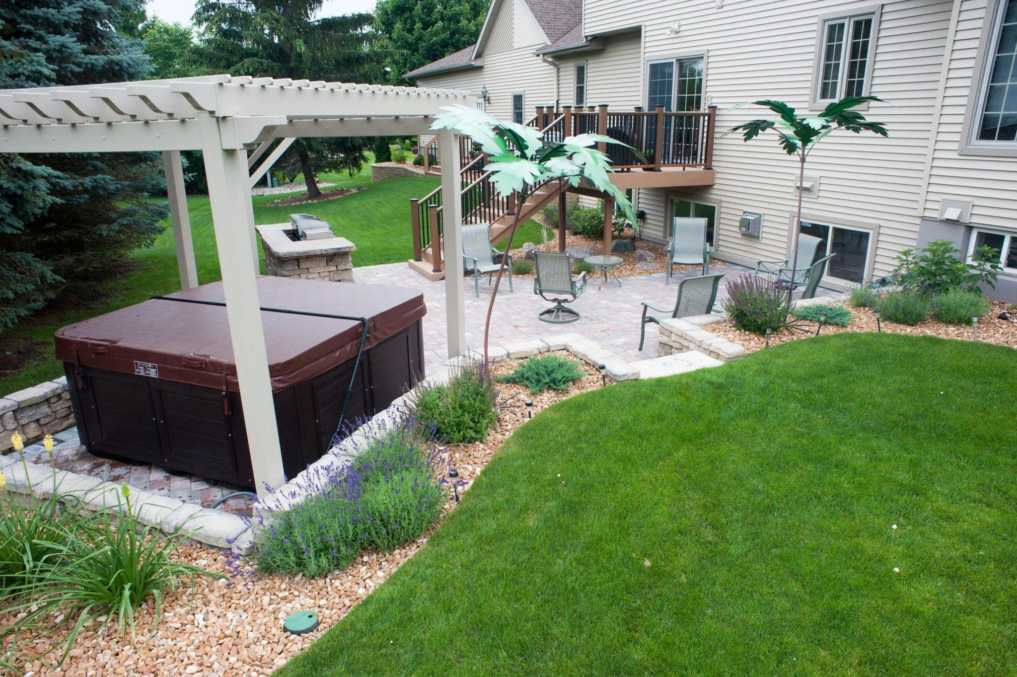 Landscape Services Lansing Mi R D Landscape Hot Tub Landscaping Hot Tub Backyard Backyard