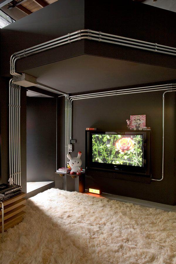 apartment bathroom design that looks like a showroom | condo life |  industrial house, apartment interior, loft design