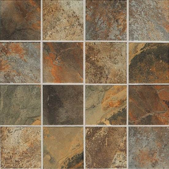 Sample Beige Cream Hand Painted Glass Pattern Mosaic Tile: Kendal Slate™ - Glazed Porcelain Tile