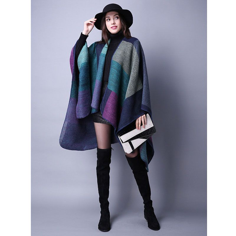 4e5cceead [AETRENDS] 2016 New Brand Women's Winter Poncho Vintage Blanket Women's  Lady Knit Shawl Cape Cashmere Scarf Poncho Z-2241
