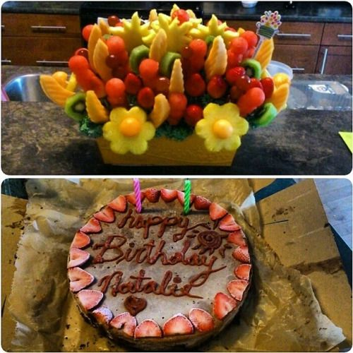 Fresh fruit arrangement and a delicious raw vegan birthday cake