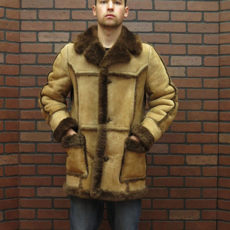 mans PRISTINE CLEAN real SHEARLING SHEEPSKIN brown LAMB FUR COAT ...