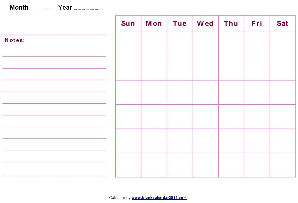 Printable Monthly Blank Calendar