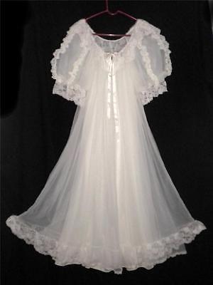 Vtg-Tosca-Small-Bridal-Set-NightGown-Gown-Robe-Peignoir-White-Chiffon-Nylon cd2ccc279