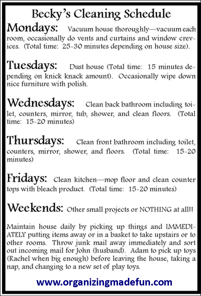 15 minute cleaning schedule.