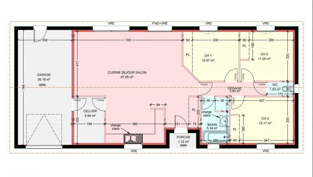 Maisons plain pied 3 chambres de 92 m² construite par Demeures - idee plan maison en longueur