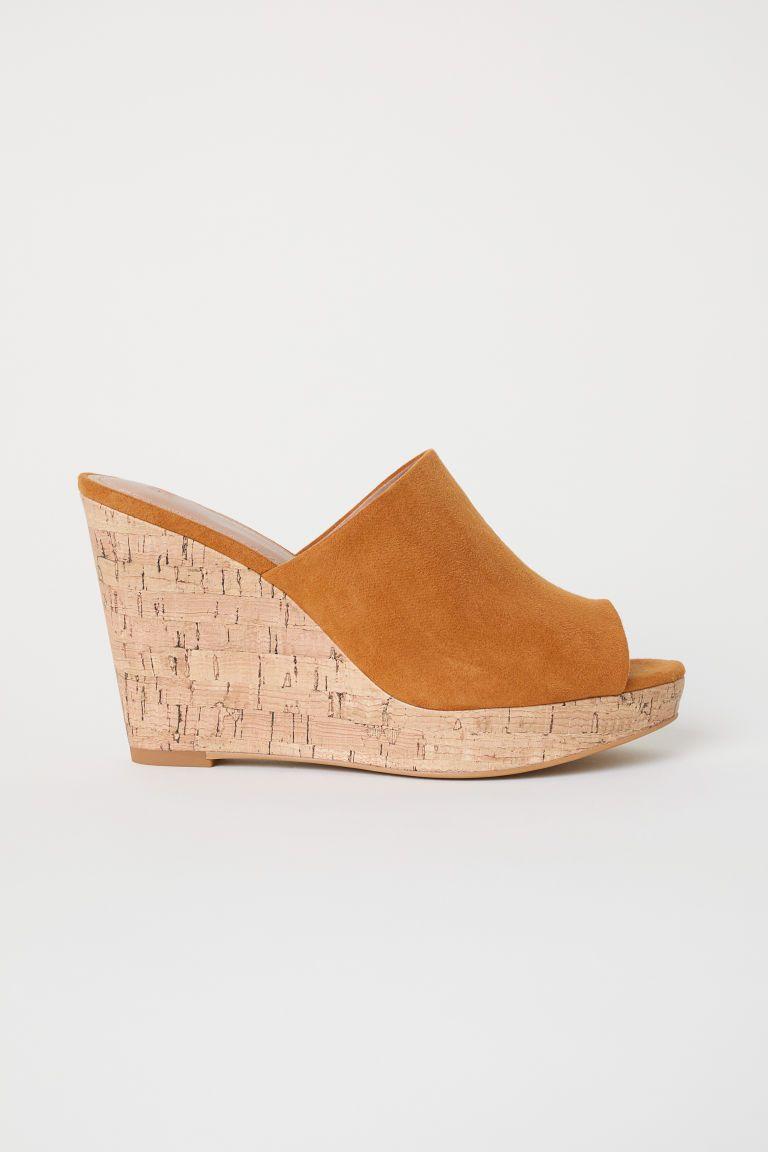 3703c5302c Wedge-heel Mules - Camel - Ladies | H&M US 1 | fashion | Wedge heels ...