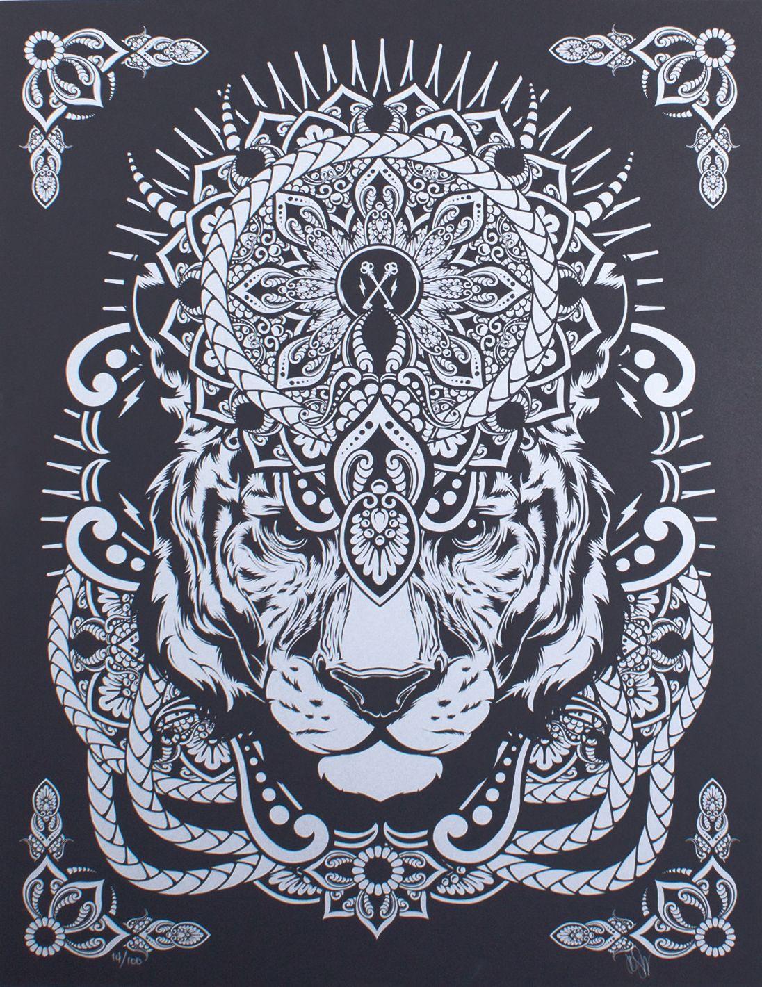 Mandala tiger screenprint by hydro74 trampt library tatoos pinterest mandala tigers and - Tigre mandala ...