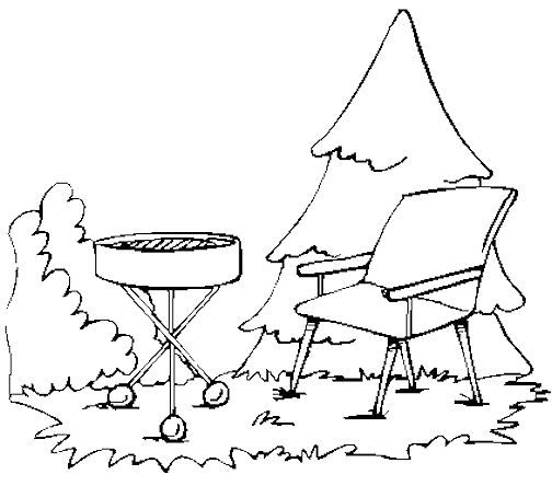 Bar-B-Q Grill and Lawn Chair Coloring Book Page: Free Bar-B-Q Grill ...