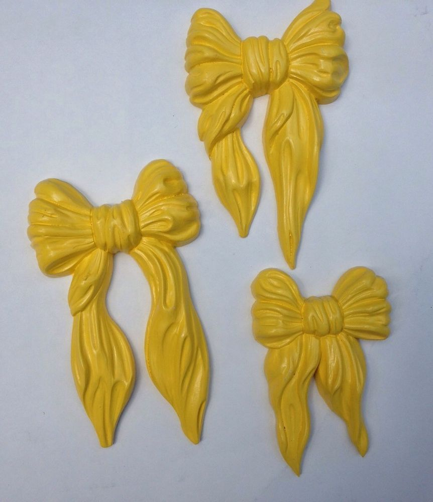 Vintage Homco / Home Interiors - set of 3 Yellow Bows Wall Plaques ...