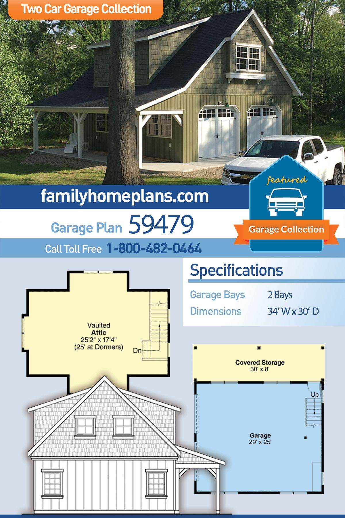 Farmhouse Style 2 Car Garage Plan Number 59479 Garage Plan 2 Car Garage Plans Garage Building Plans