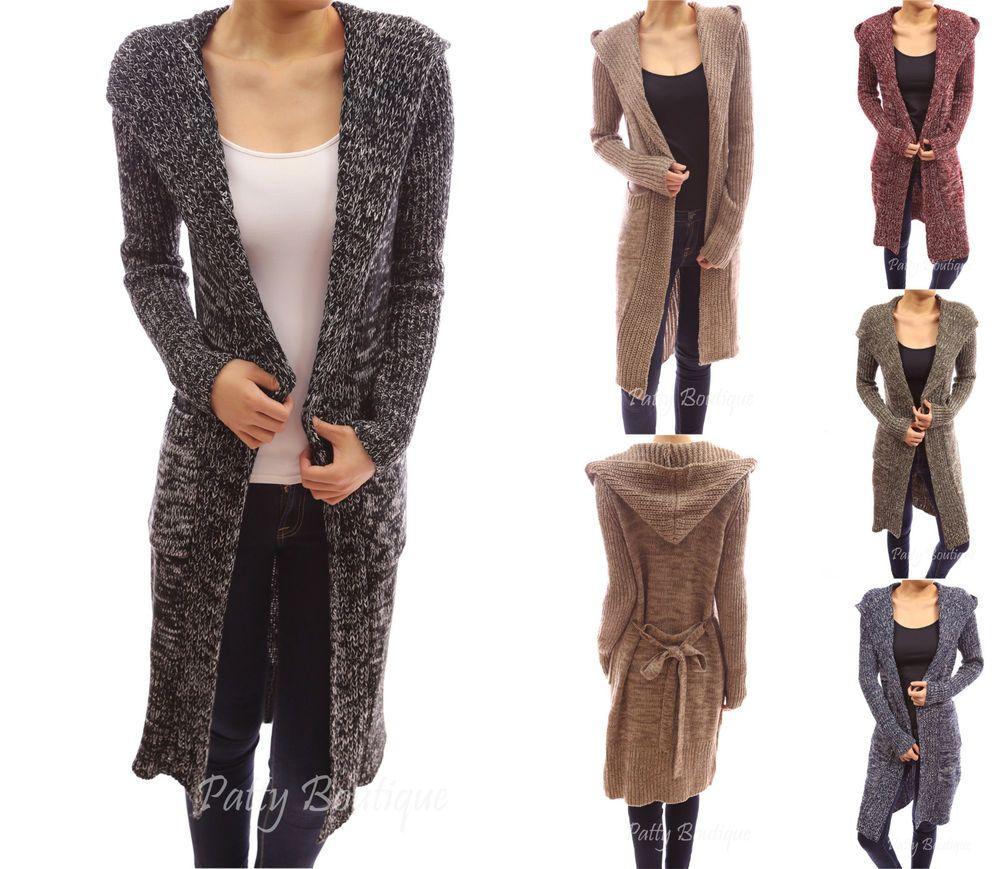 Hooded Long Sleeve Pockets Belt Knit Open Cardigan Sweater Coat ...