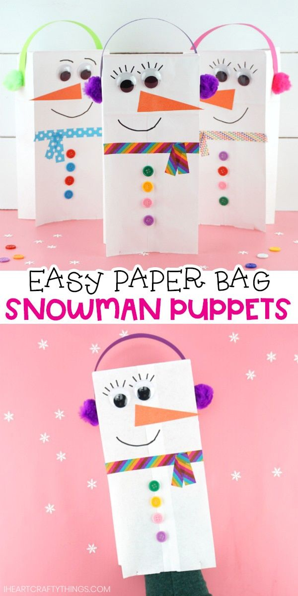 Photo of Easy Paper Bag Snowman Craft Puppets