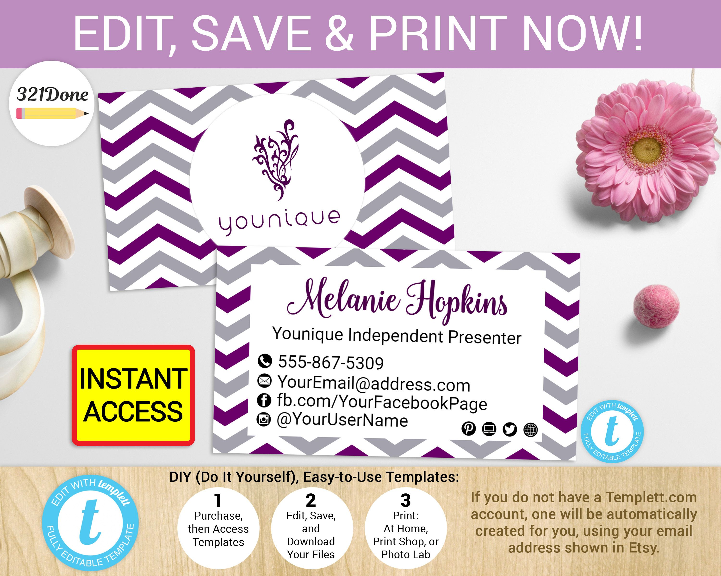 Younique Business Card Design Template Younique Business Cards Business Card Template Design Printable Business Cards