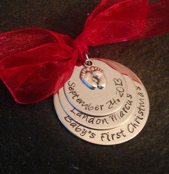 Personalized Babys First Christmas Ornament With Baby Feet Charm Hand Stamped On Etsy