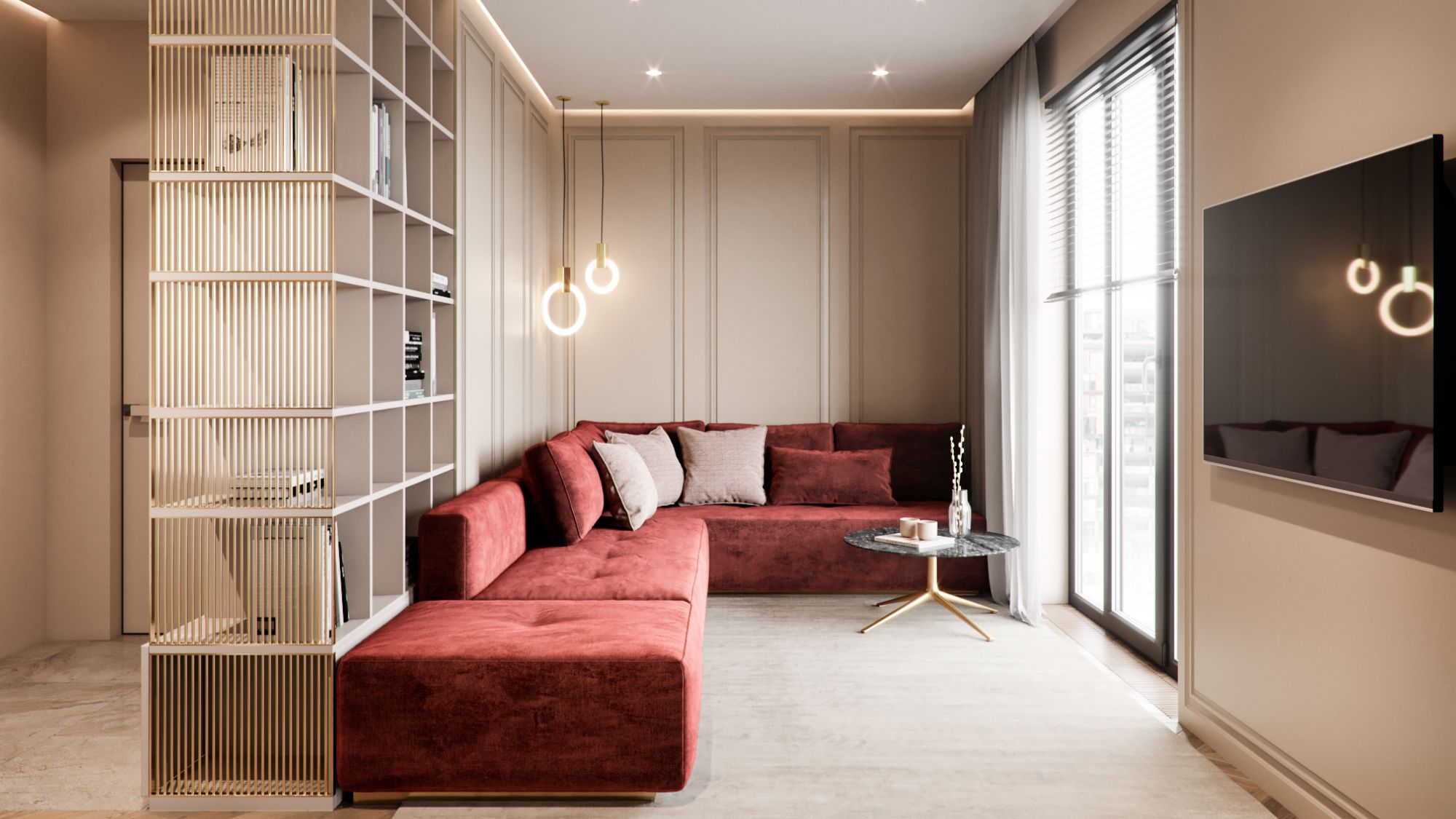 Interior design of apartment modern apartment with classic elements in soft light colors