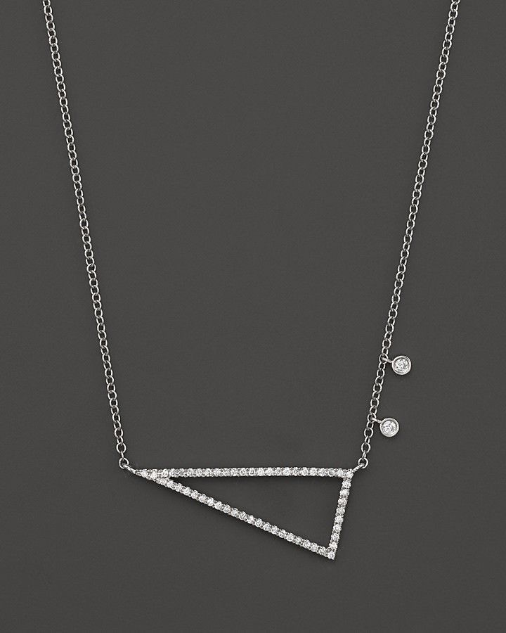 "Meira T 14K White Gold Side Triangle Necklace with Diamonds, 16"" on shopstyle.com"