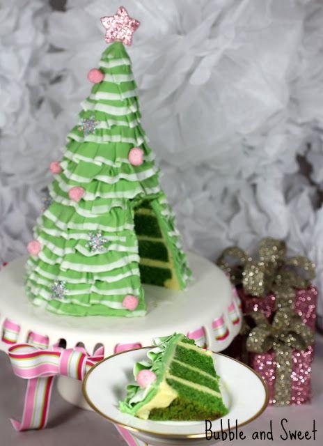 Bubble and Sweet: Pretty Layered Ruffle Christmas Tree Cake - the anti-fruit cake