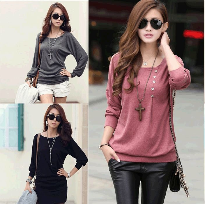 Fashion Batwing Coat Women Loose Casual Cotton long Sleeve T ...
