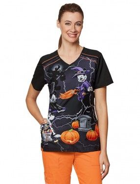 i love halloween scrubs fun spooky print cherokee tooniforms disney witching hour scrub top - Halloween Scrubs Uniforms