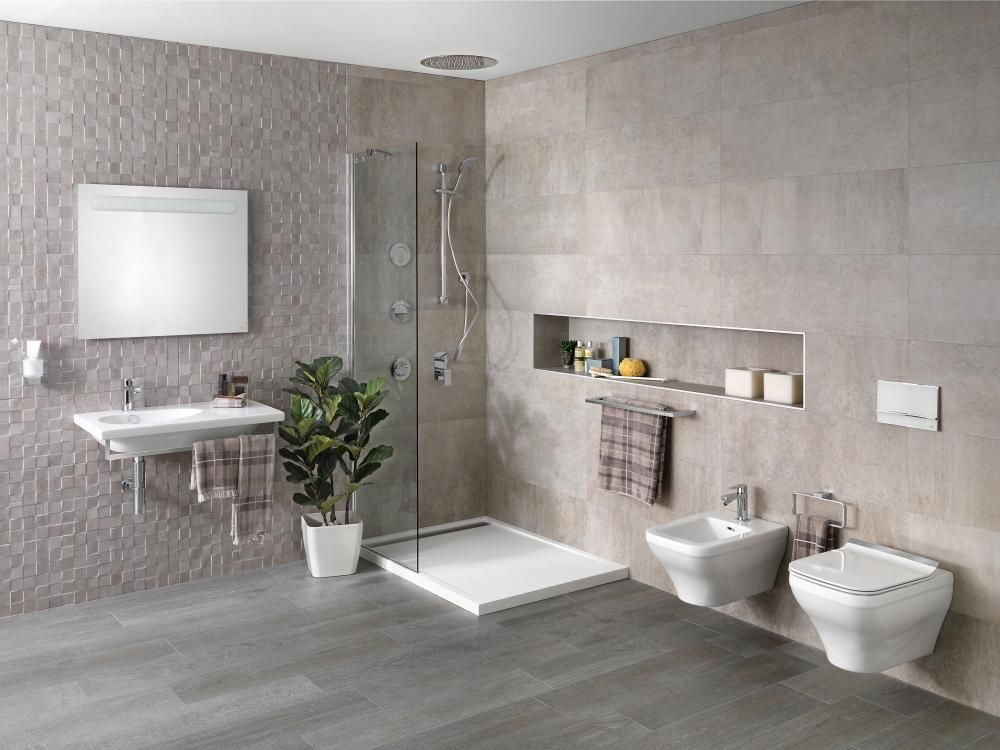 Contemporary Bathroom Design Porcelanosa Bathroom #toalleros #towel - Baos Modernos Con Ducha Y Baera