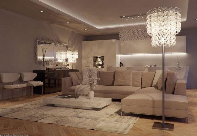 Luxus Einrichtung 3d Beige Sofa Garnitur Design Stehlampe