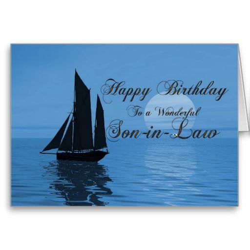 Son In Law A Moonlight Yacht Birthday Card Zazzle Com Ocean Theme Birthday Birthday Cards Happy Birthday Son