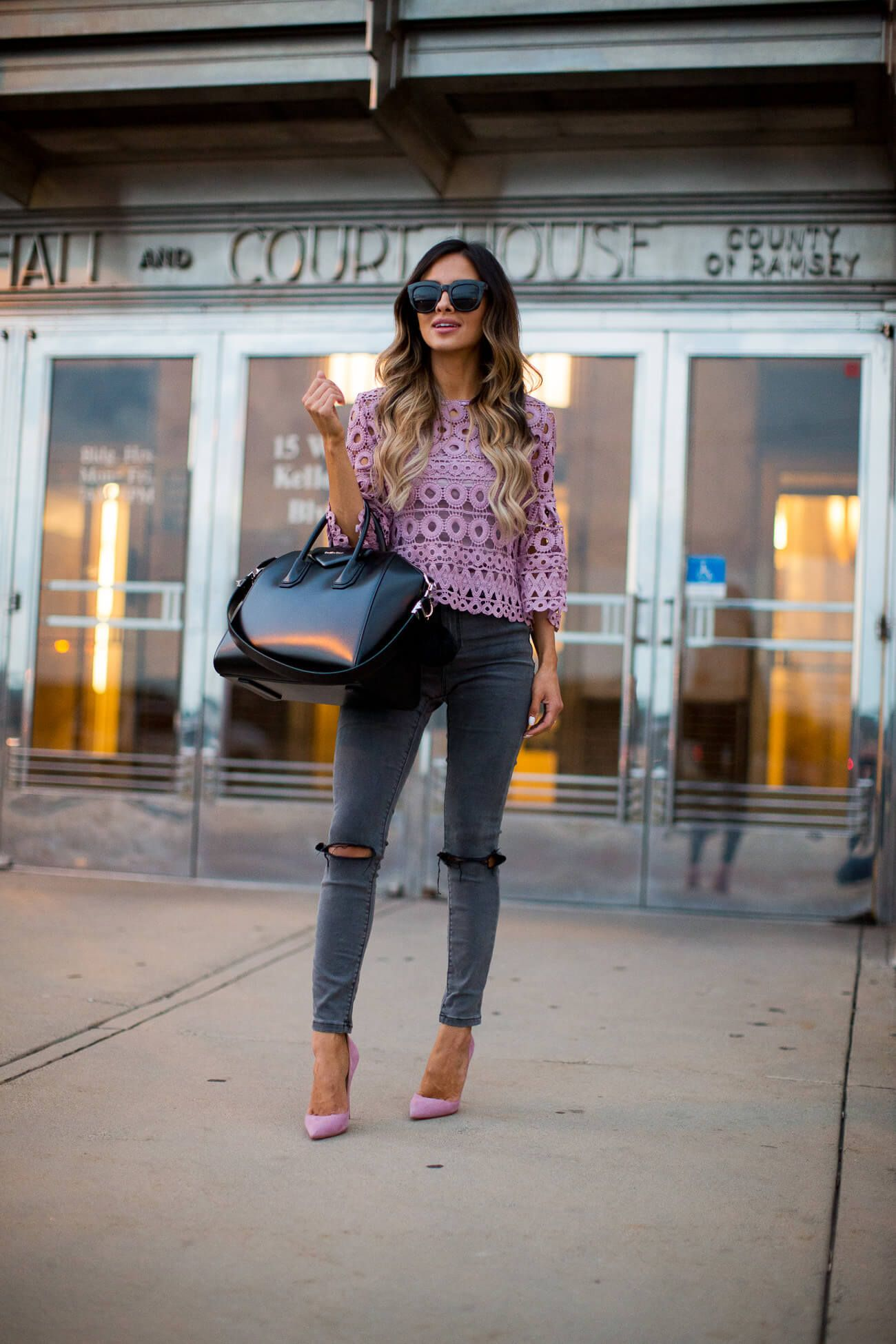 2fbe327138db fashion blogger mia mia mine wearing a lilac crochet top from shopbop and  asos jeans