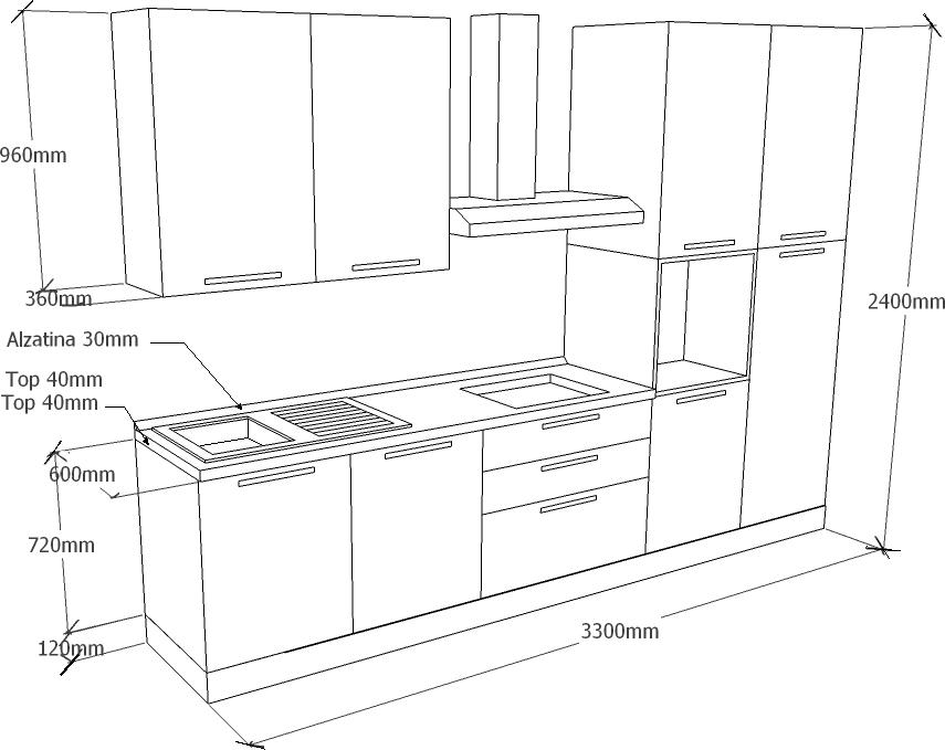 Vendita mobili online cucina componibile olmo chiaro - Isola cucina dimensioni minime ...