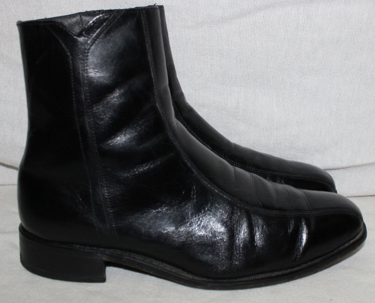 Florsheim Boots Black Leather 10 3E Extra Wide Motorcycle Hipster ...