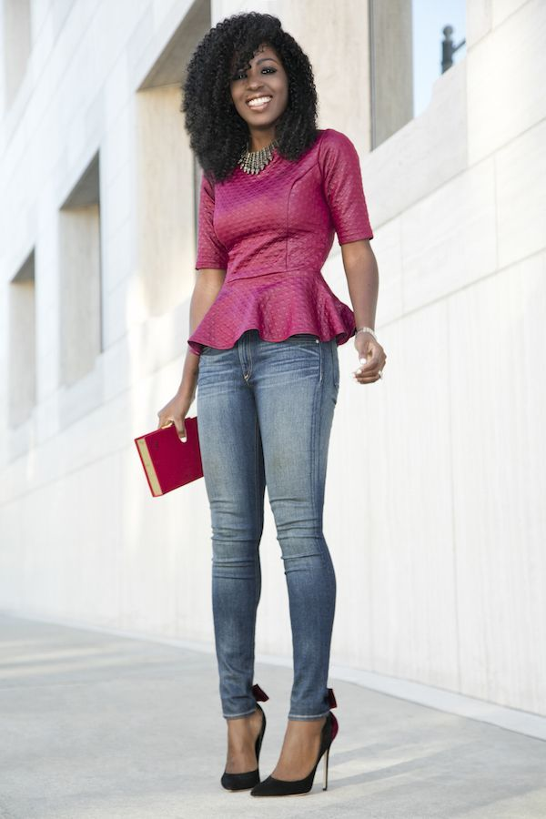Quilted Peplum Blouse + Skinny Jeans